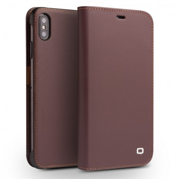 "Premium pouzdro Qialino ""Leather"" pro iPhone XS Max - hnědé"