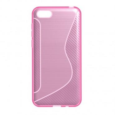 "Kryt TPU gel ""S-Line"" pro Huawei Y5 2018 / Y5 Prime 2018 - roza - růžové"