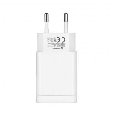 Univerzální síťový nabíjecí adaptér s přiloženým USB Type-C kabelem - bílé