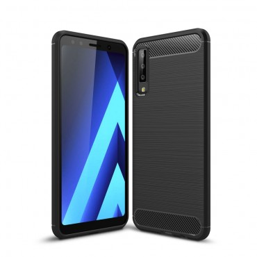 "TPU gelový obal ""Brushed Carbon"" pro Samsung Galaxy A7 2018 - černý"