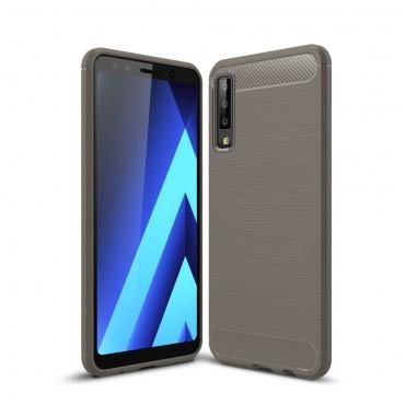 "TPU gelový obal ""Brushed Carbon"" pro Samsung Galaxy A7 2018 - šedý"