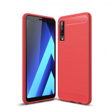 """TPU gelový obal """"Brushed Carbon"""" pro Samsung Galaxy A7 2018 - červený"""