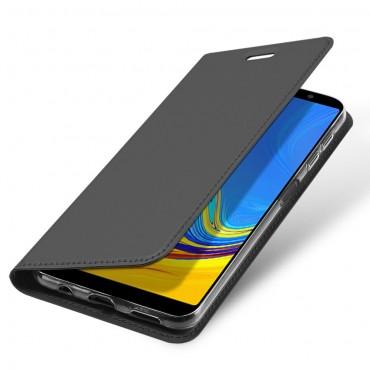"""Módní kryt z umělé kůže """"Skin"""" pro Samsung Galaxy A7 2018 - černý"""