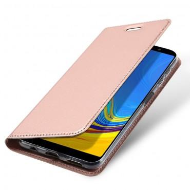 """Módní kryt z umělé kůže """"Skin"""" pro Samsung Galaxy A7 2018 - růžový"""