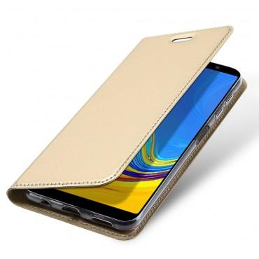"""Módní kryt z umělé kůže """"Skin"""" pro Samsung Galaxy A7 2018 - zlaté barvy"""