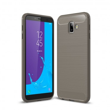 "TPU gelový obal ""Brushed Carbon"" pro Samsung Galaxy J6 Plus - šedý"