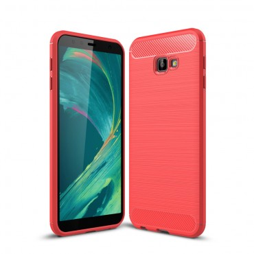 "Kryt TPU gel ""Brushed Carbon"" pro Samsung Galaxy J4 Plus - červené"