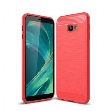 """TPU gelový obal """"Brushed Carbon"""" pro Samsung Galaxy J4 Plus - červený"""