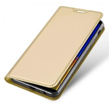 """Módní kryt z umělé kůže """"Skin"""" pro Samsung Galaxy J4 Plus - zlaté barvy"""