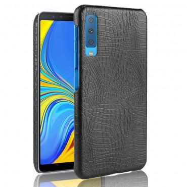 """Premium kryt """"Croc"""" pro Samsung Galaxy A7 2018 z pravé kůže - černý"""