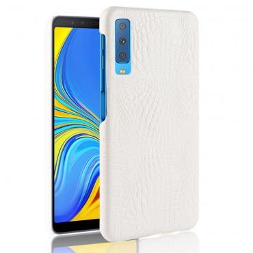 """Obal z umělé kůže """"Croc"""" pro Samsung Galaxy A7 2018 - bílý"""