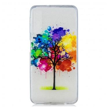 "Tenký kryt TPU gel ""Rainbow Tree"" pro Samsung Galaxy A7 2018 - růžové"