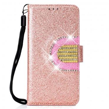 """Módní pouzdro """"Glitter"""" pro Samsung Galaxy J4 Plus - růžové"""