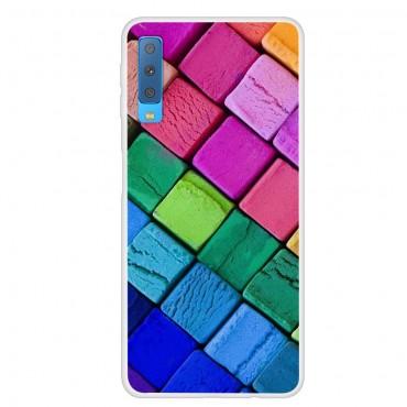 "Tenký kryt TPU gel ""Rainbow Blocks"" pro Samsung Galaxy A7 2018 - růžové"