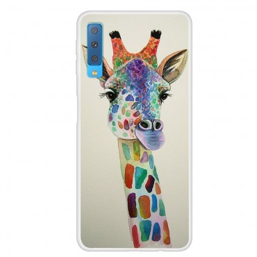 "Tenký kryt TPU gel ""Giraffe"" pro Samsung Galaxy A7 2018 - růžové"
