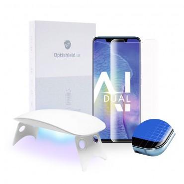 2x Premium ochranné sklo Optishield Lux pro Huawei Mate 20 Pro + UV lampa