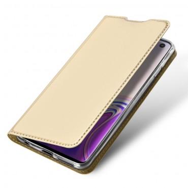 """Módní kryt z umělé kůže """"Skin"""" pro Samsung Galaxy S10 - zlaté barvy"""