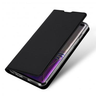 """Módní kryt z umělé kůže """"Skin"""" pro Samsung Galaxy S10 Plus - černý"""