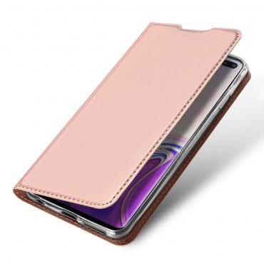 """Módní kryt z umělé kůže """"Skin"""" pro Samsung Galaxy S10 Plus - růžový"""