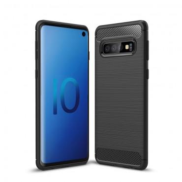 "Kryt TPU gel ""Brushed Carbon"" pro Samsung Galaxy S10 - černý"