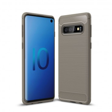 "Kryt TPU gel ""Brushed Carbon"" pro Samsung Galaxy S10 - šedý"