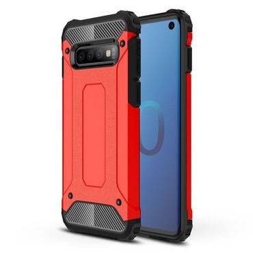 """Robustní kryt """"Rock"""" pro Samsung Galaxy S10 - červené"""
