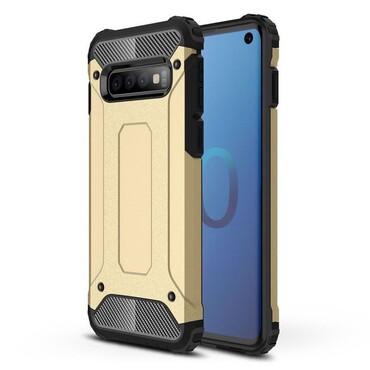 """Robustní obal """"Rock"""" pro Samsung Galaxy S10 - zlaté barvy"""