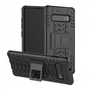 """Hybridní kryt TPU gel """"Tough"""" pro Samsung Galaxy S10 - černé"""
