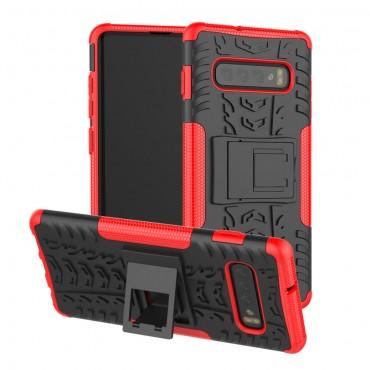 """Hybridní kryt TPU gel """"Tough"""" pro Samsung Galaxy S10 - červené"""