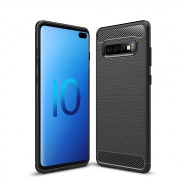 "TPU gelový obal ""Brushed Carbon"" pro Samsung Galaxy S10 Plus - černý"