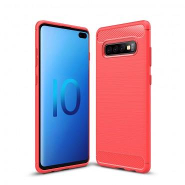 "Kryt TPU gel ""Brushed Carbon"" pro Samsung Galaxy S10 Plus - červené"