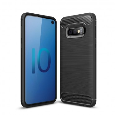 "TPU gelový obal ""Brushed Carbon"" pro Samsung Galaxy S10e - černý"