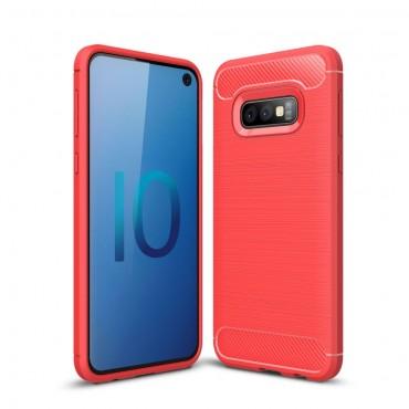 """TPU gelový obal """"Brushed Carbon"""" pro Samsung Galaxy S10e - červený"""