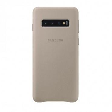 """Originální kožený obal """"Leather Cover"""" pro Samsung Galaxy S10 - zlaté barvy"""
