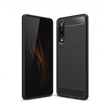 """Kryt TPU gel """"Brushed Carbon"""" pro Huawei P30 - černý"""