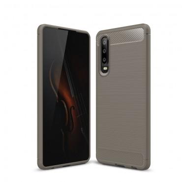 "TPU gelový obal ""Brushed Carbon"" pro Huawei P30 - šedý"