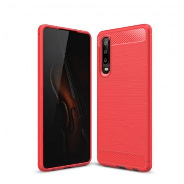 "TPU gelový obal ""Brushed Carbon"" pro Huawei P30 - červený"