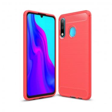 "Kryt TPU gel ""Brushed Carbon"" pro Huawei P30 Lite - červené"