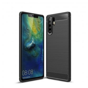 "TPU gelový obal ""Brushed Carbon"" pro Huawei P30 Pro - černý"