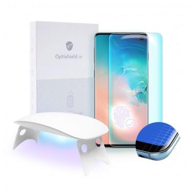 Prémiové tvrzené sklo Optishield Lux pro Samsung Galaxy S10 a UV lampa