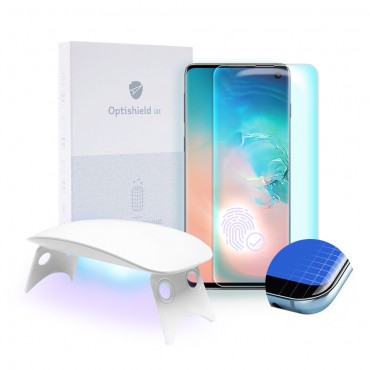 Premium ochranné sklo Optishield Lux pro Samsung Galaxy S10 + UV lampa