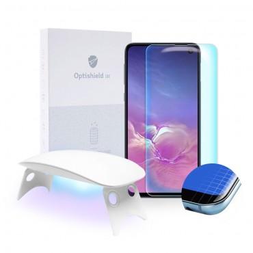 Prémiové tvrzené sklo Optishield Lux pro Samsung Galaxy S10e a UV lampa