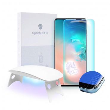 Prémiové tvrzené sklo Optishield Lux pro Samsung Galaxy S10 Plus a UV lampa