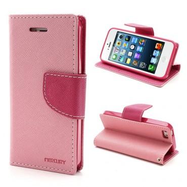 Pouzdro Goospery Fancy Diary pro iPhone SE / 5 / 5S - růžové