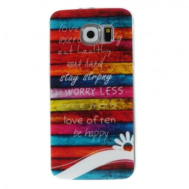 "Kryt TPU gel ""Wood Quotes"" pro Samsung Galaxy S6"